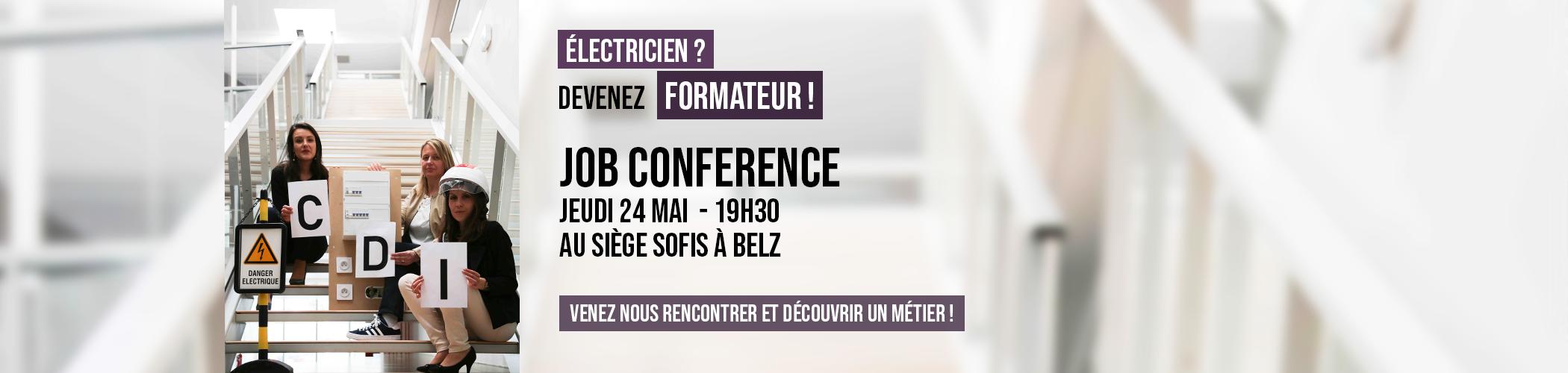 Job Conference Formateur Habilitation Electrique le 24.05.2018 à 19h30 à Belz