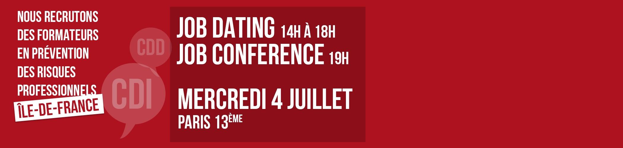 Job Dating et Job Conference le 4 juillet 2018 à Paris