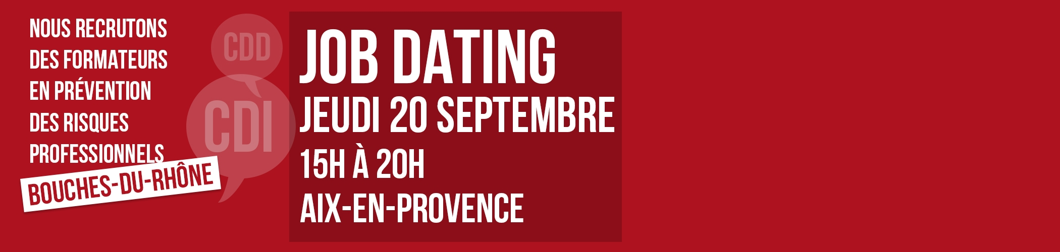 Job Dating Formateur le 20 septembre 2018 à Aix-en-Provence